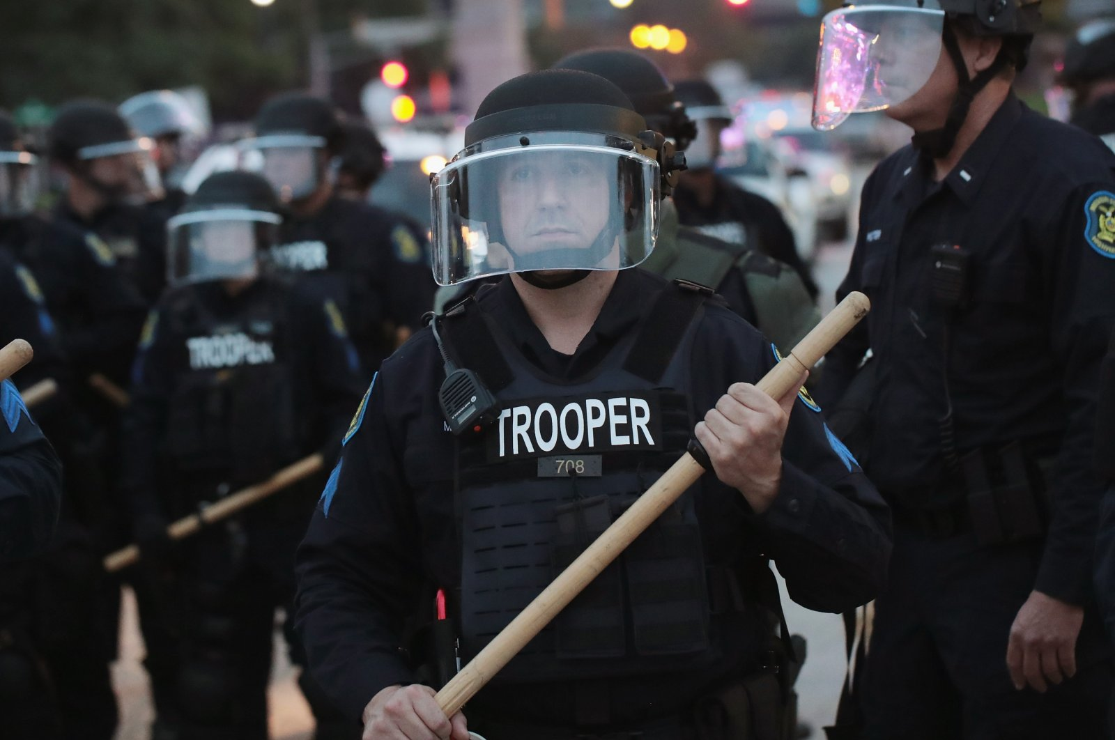 Police respond to a demonstration protesting the acquittal of former St. Louis police officer Jason Stockley, in St. Louis, Missouri, U.S., Sept. 17, 2017. (Getty Images)