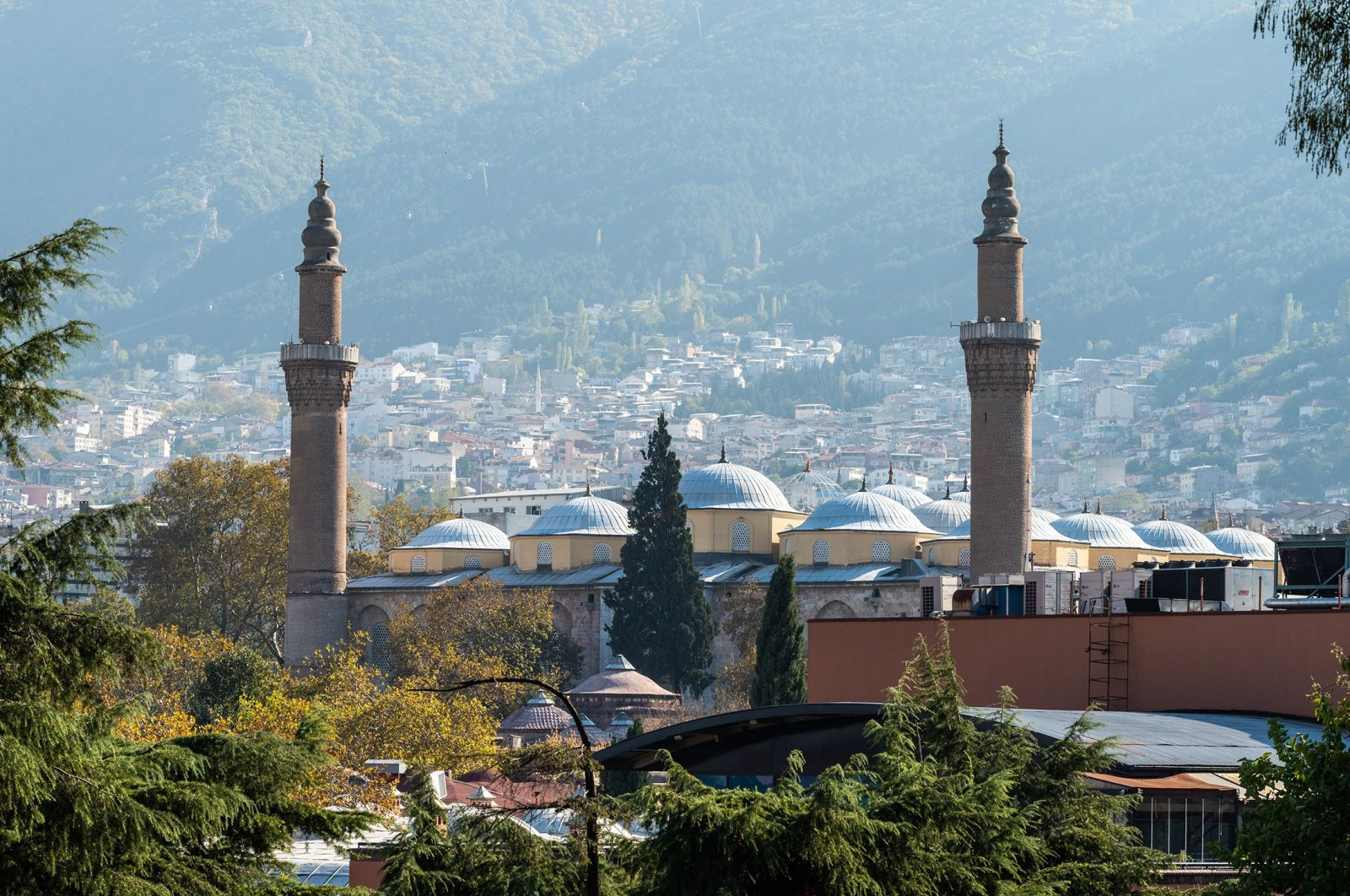 Drone picture of Bursa's Grand Mosque (Ulu Camii). (Shutterstock Photo)