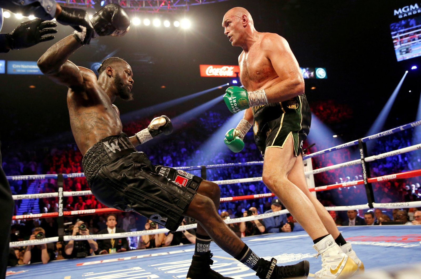 Tyson Fury knocks down Deontay Wilder during the WBC Heavyweight Title fight at the Grand Garden Arena at MGM Grand, Las Vegas, U.S., Feb. 22, 2020. (Reuters Photo)
