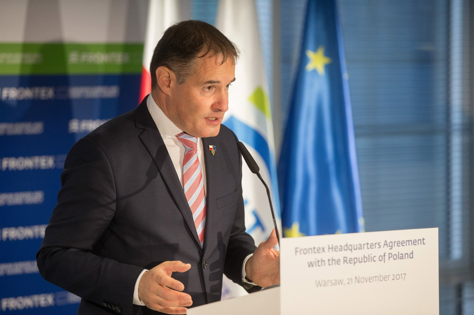 Fabrice Leggeri, Frontex's executive director, attends the press conference after the inauguration ceremony for the Frontex headquarter, in Warsaw, Poland, Nov. 21, 2017 (Getty Images)