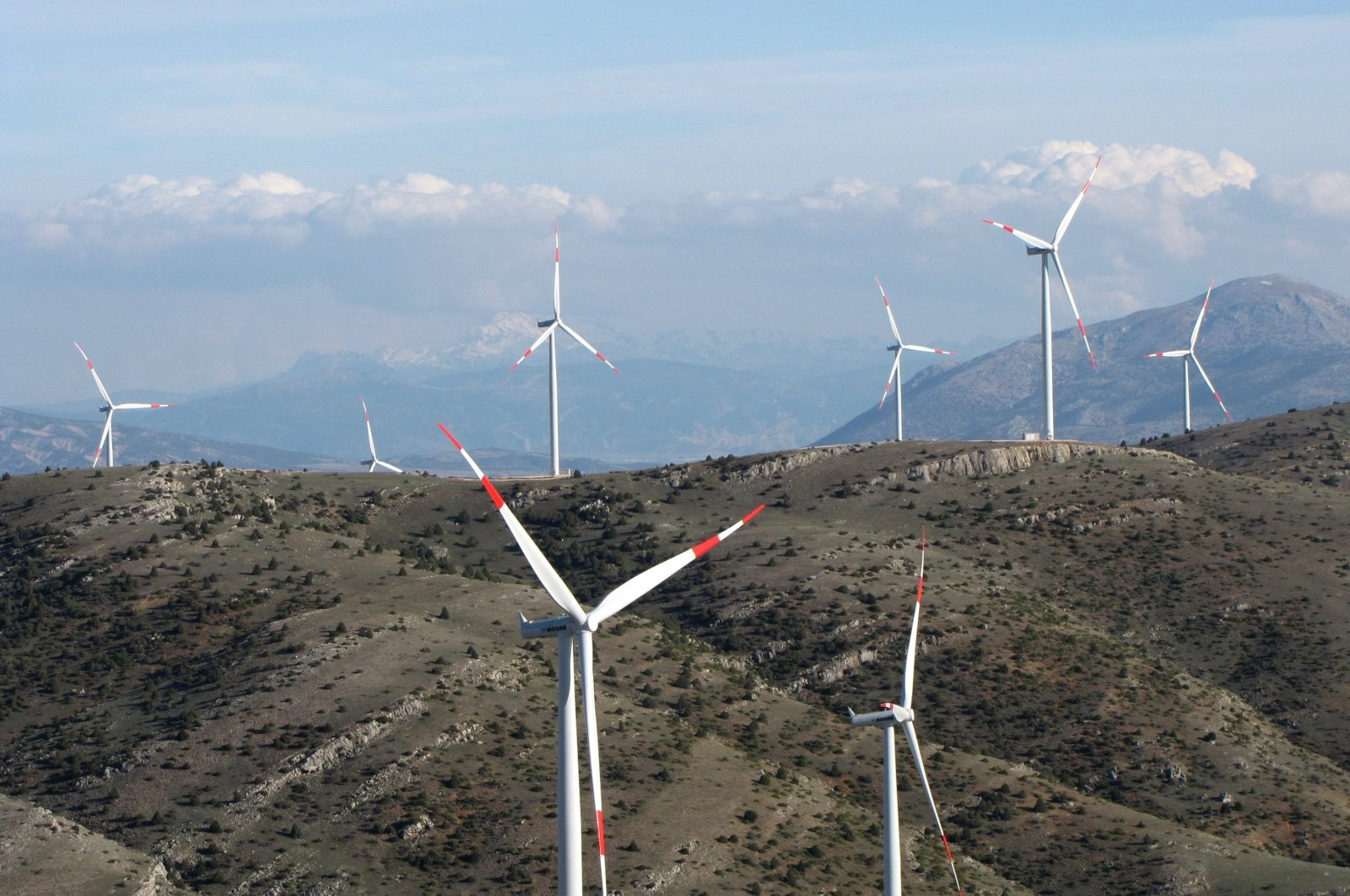 Wind turbines are seen in the Dinar district of Turkey's western province of Afyonkarahisar, March 28, 2019. (AA Photo)