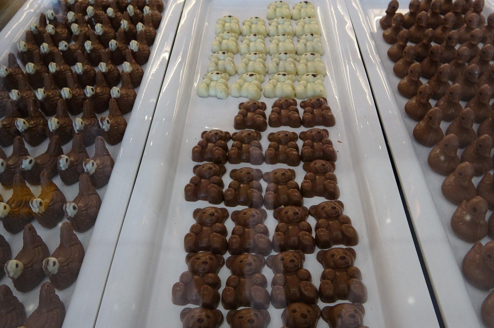 Chocolate on display at a chocolate museum, in Bursa, northwestern Turkey, July 10, 2021. (İHA PHOTO)