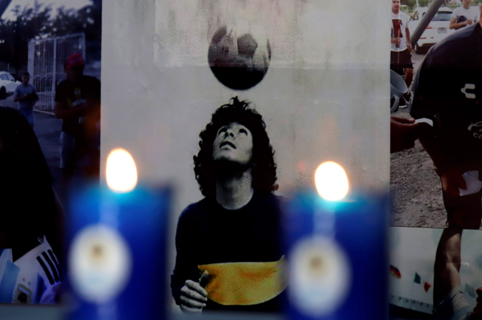 Detail of an altar dedicated to former Argentine football legend Diego Armando Maradona, in the municipality of San Andres Cholula, in Puebla, Mexico, July 7, 2021. (AFP Photo)