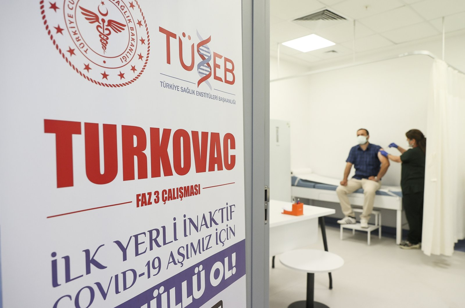 A volunteer is vaccinated with Turkovac at a hospital, in the capital Ankara, Turkey, July 9, 2021. (AA PHOTO)