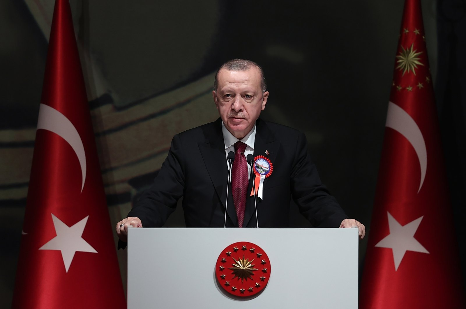Turkish President Recep Tayyip Erdoğan speaks at the graduation ceremony of the National Defense University, Istanbul, Turkey, July 16, 2021. (AA Photo)