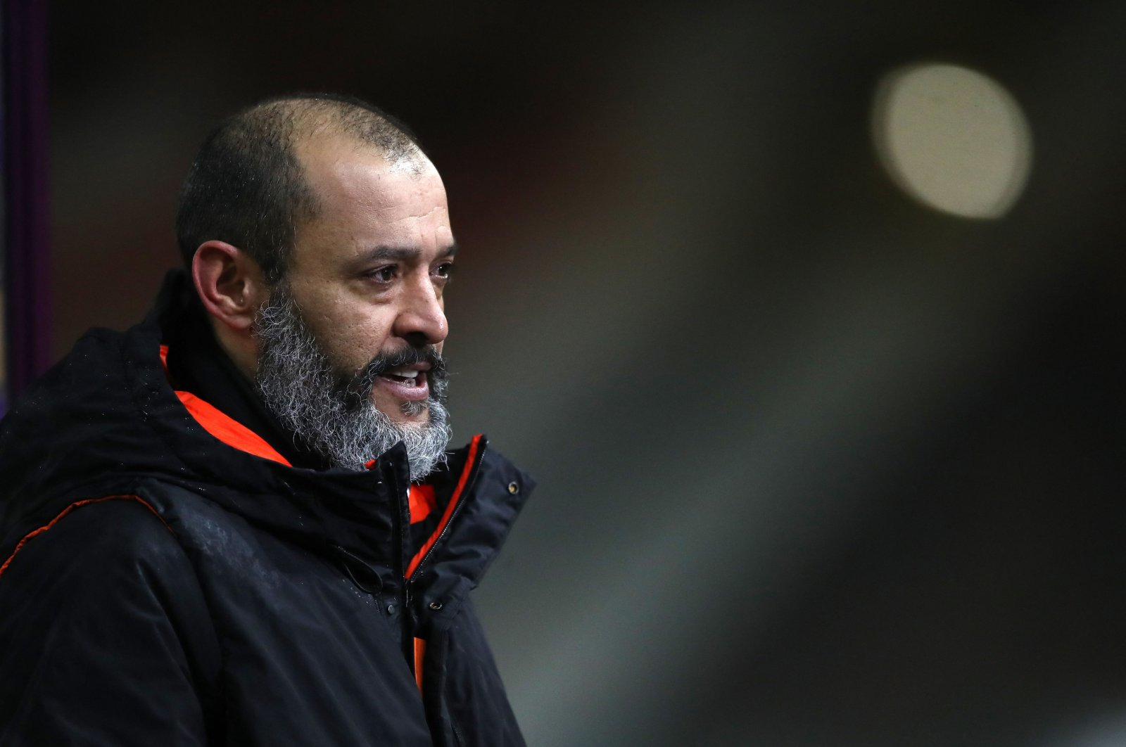 Then-Wolverhampton Wanderers manager Nuno Espirito Santo reacts at the final whistle during the English Premier League match against Arsenal at the Molineux stadium in Wolverhampton, central England, Feb. 2, 2021. (AFP Photo)