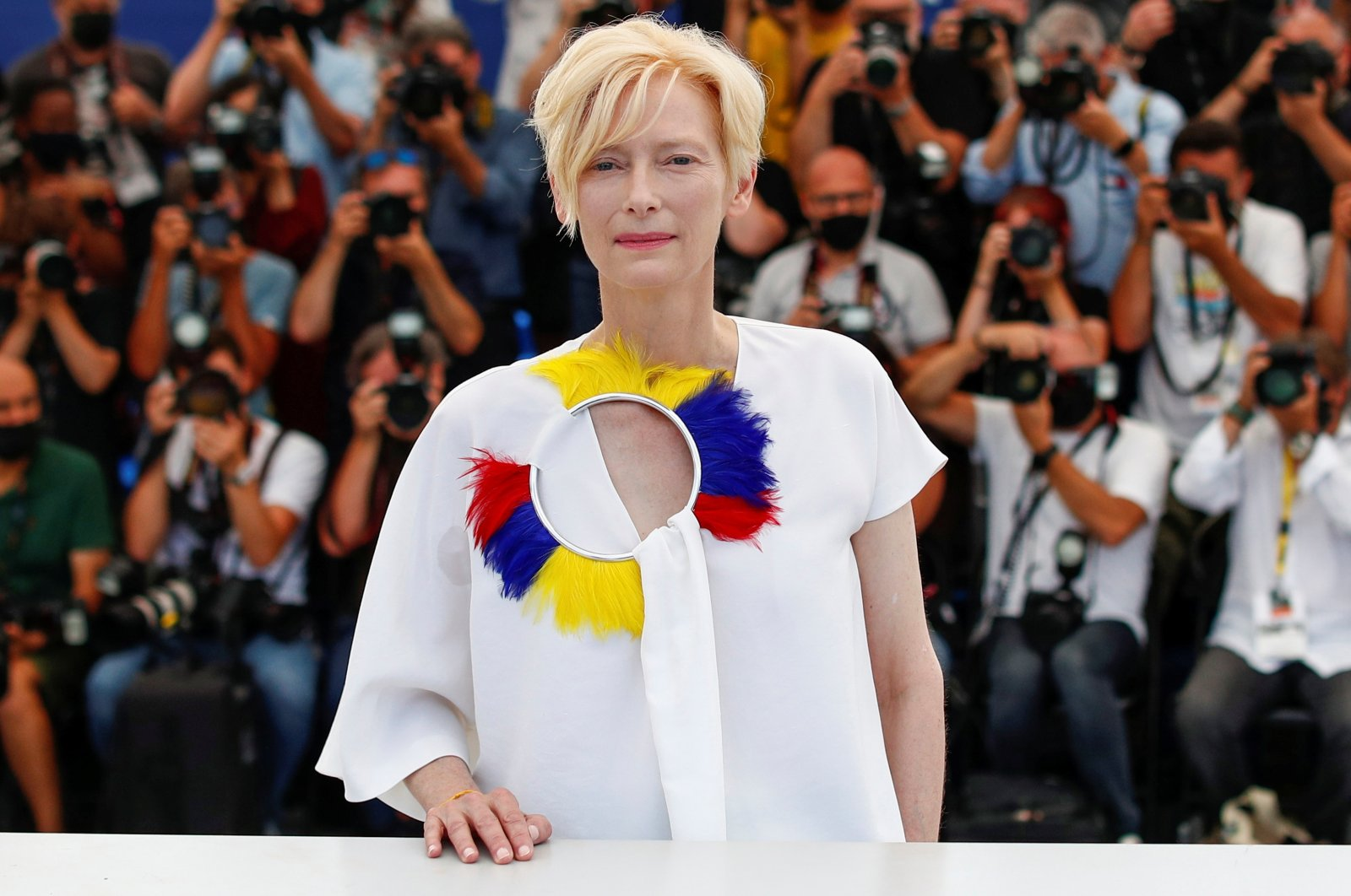 """British actress Tilda Swinton poses during a photocall for the film """"Memoria,"""" at the 74th Cannes Film Festival in Cannes, France, July 16, 2021. (Reuters Photo)"""