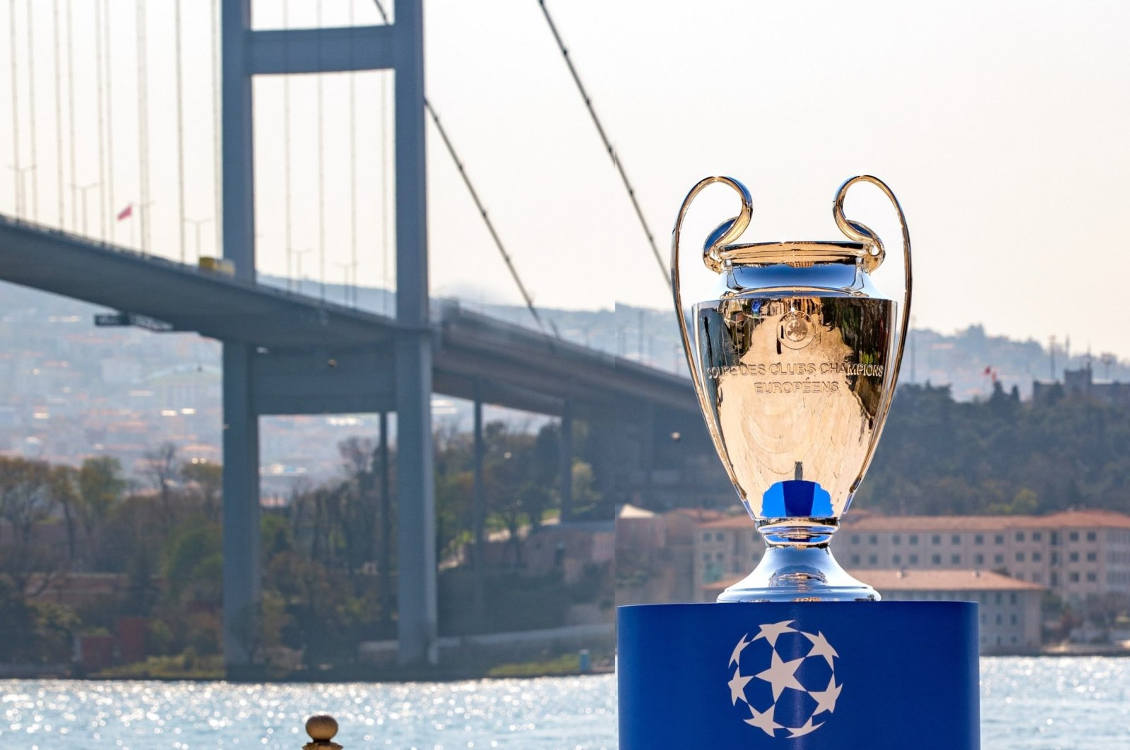 This file photo shows the Champions League trophy by the Bosporus for the final match originally scheduled to take place in Istanbul, Turkey, on May 13, 2021. (DHA Photo)