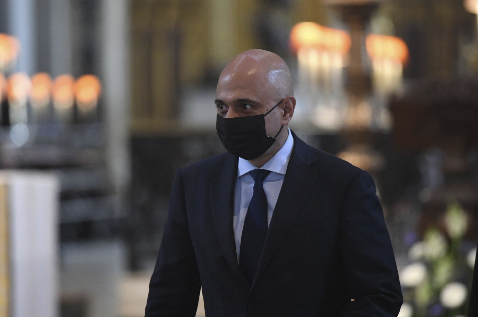 Britain's Health Secretary Sajid Javid arrives at St Paul's Cathedral ahead of the NHS service of commemoration and thanksgiving to mark the 73rd birthday of the NHS, London, U.K., July 5, 2021. (Stefan Rousseau/Pool via AP)