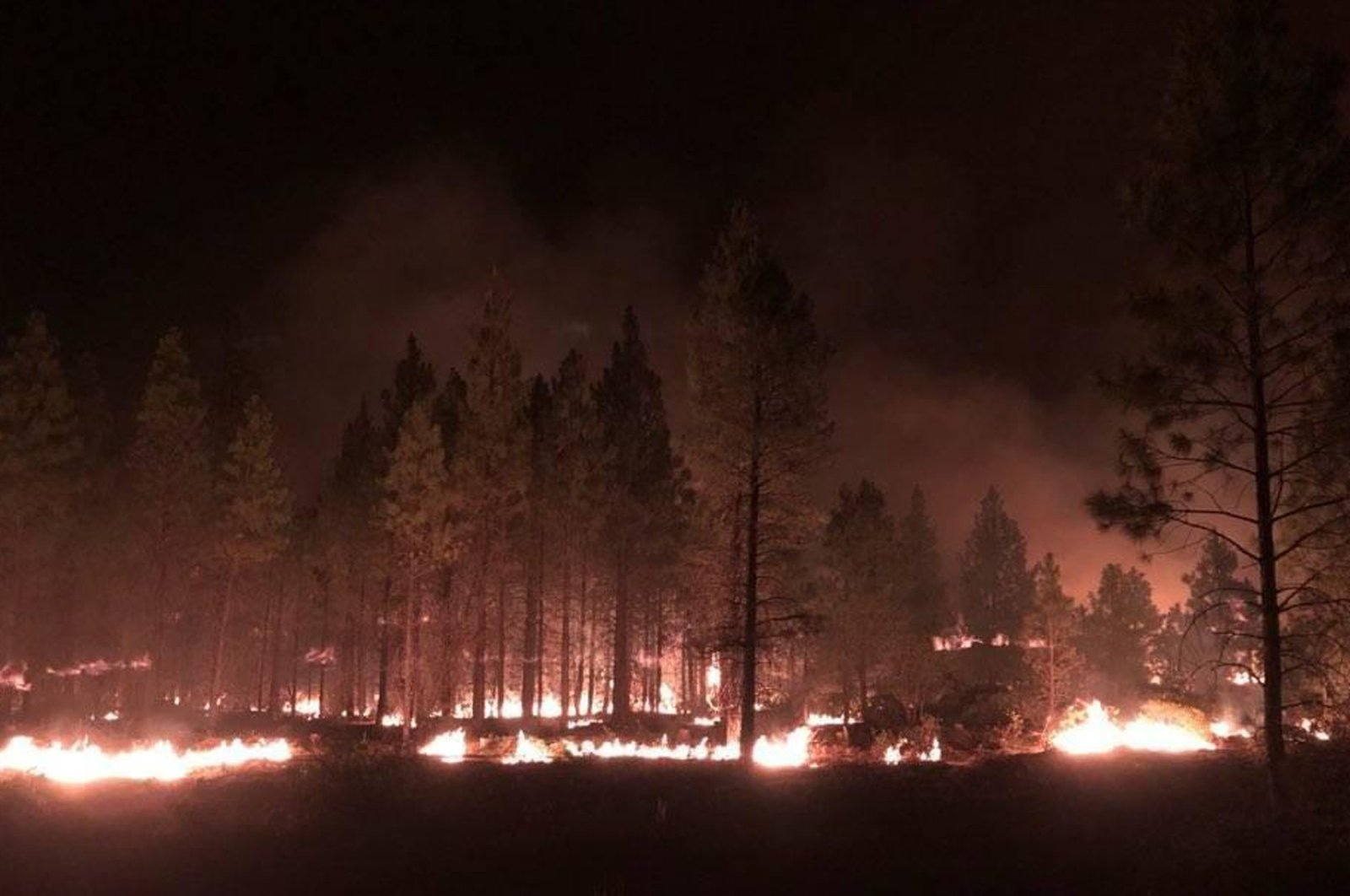 In this photo provided by the Bootleg Fire Incident Command, the Bootleg Fire burns at night near Highway 34 in southern Oregon, July 15, 2021. (AP Photo)