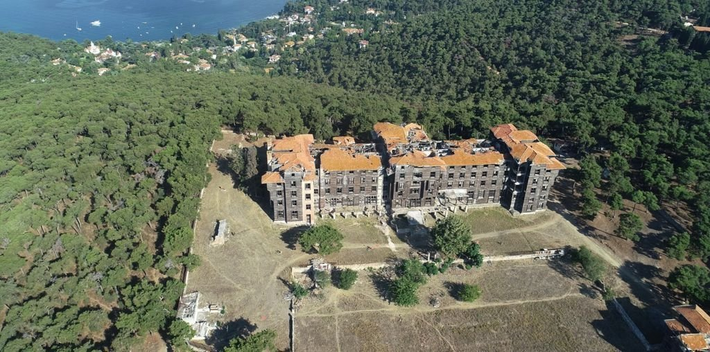 An aerial view of the orphanage in Büyükada island, in Istanbul, Turkey, July 18, 2021. (DHA PHOTO)