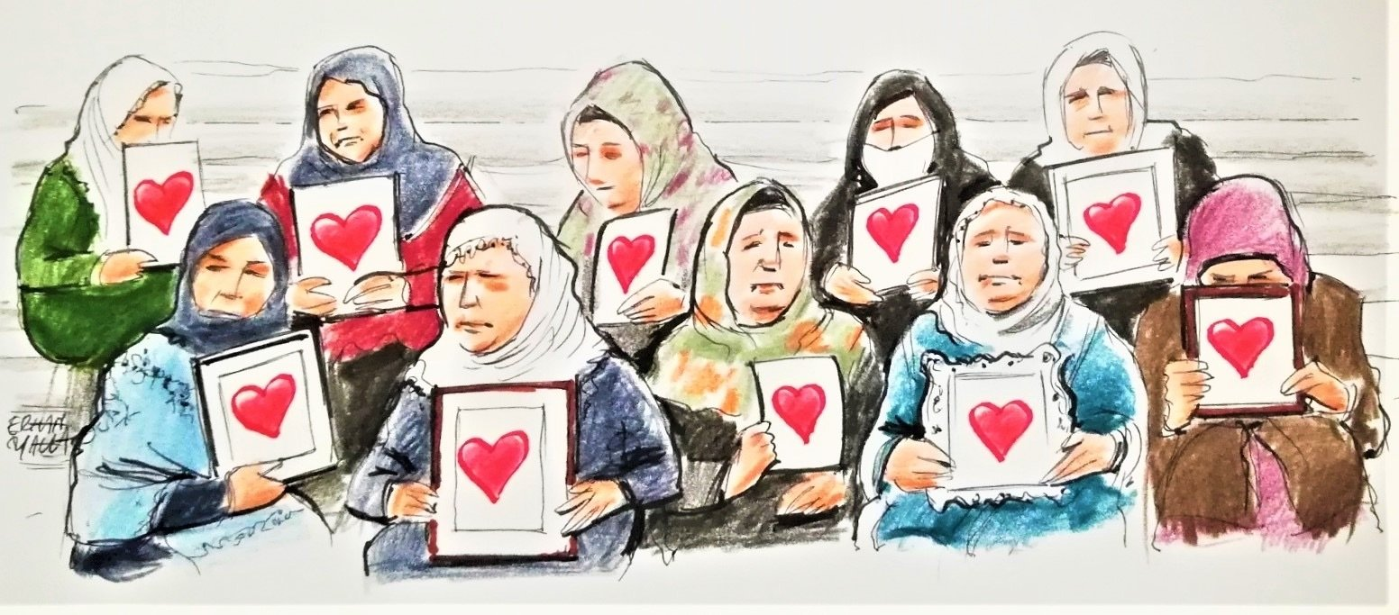 An illustration by Erhan Yalvaç shows mothers of those who have been abducted by the PKK terrorist organization protesting against the bloody group and its political wing Peoples' Democratic Party (HPD) in the southeastern province of Diyarbakır, Turkey.