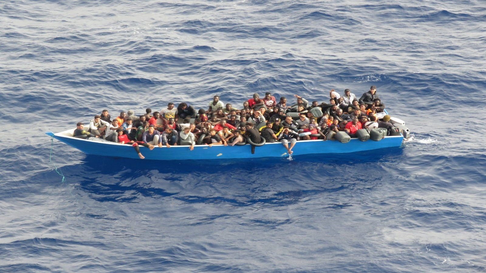 Irregular migrants off Libya are seen in the Mediterranean Sea, July 18, 2021 (Courtesy of the Turkish Defense Ministry)