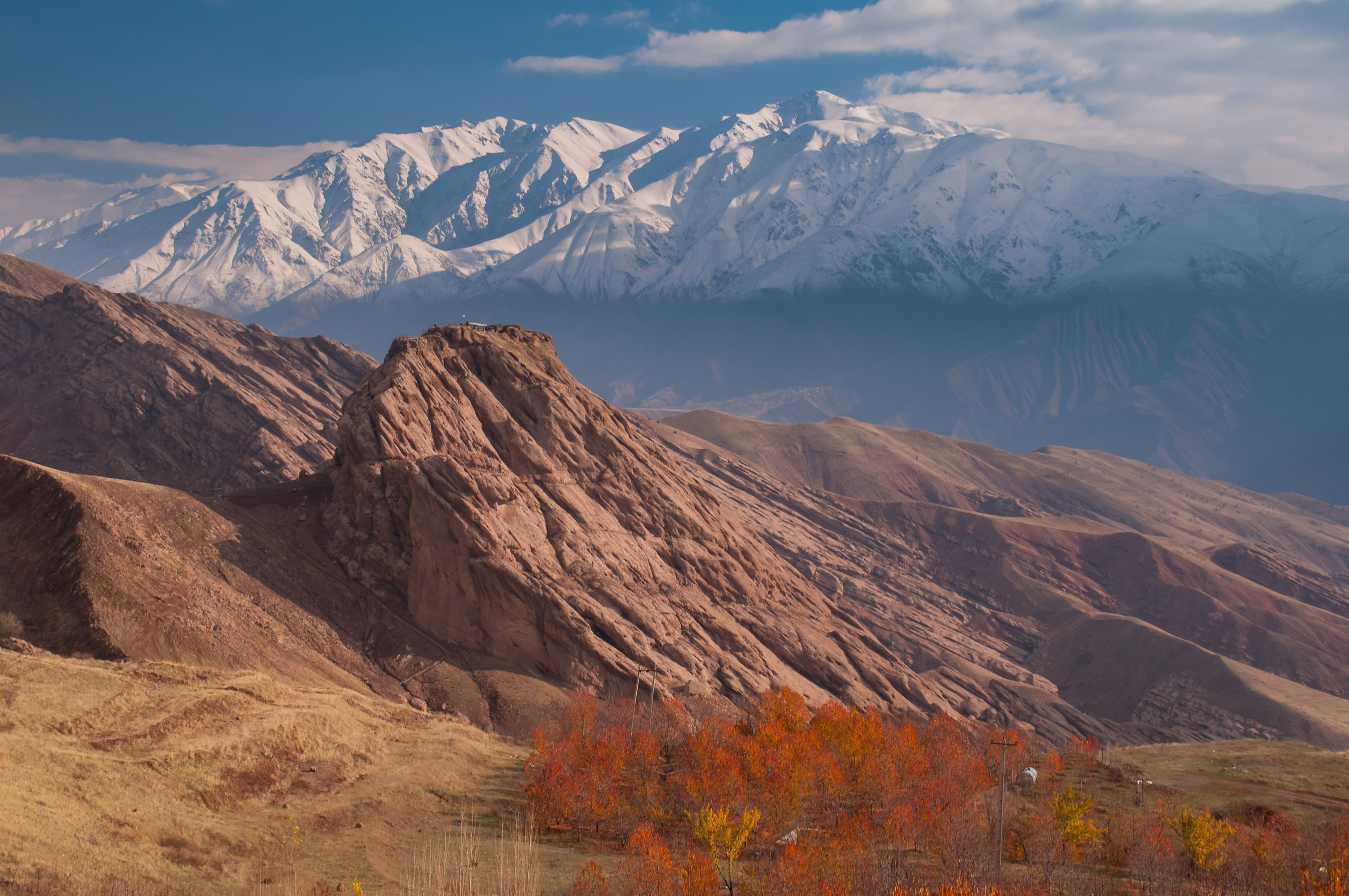 The ruins of the Alamut Castle can be seen on a mountain in the Alamut region, Iran. (Shutterstock Photo)