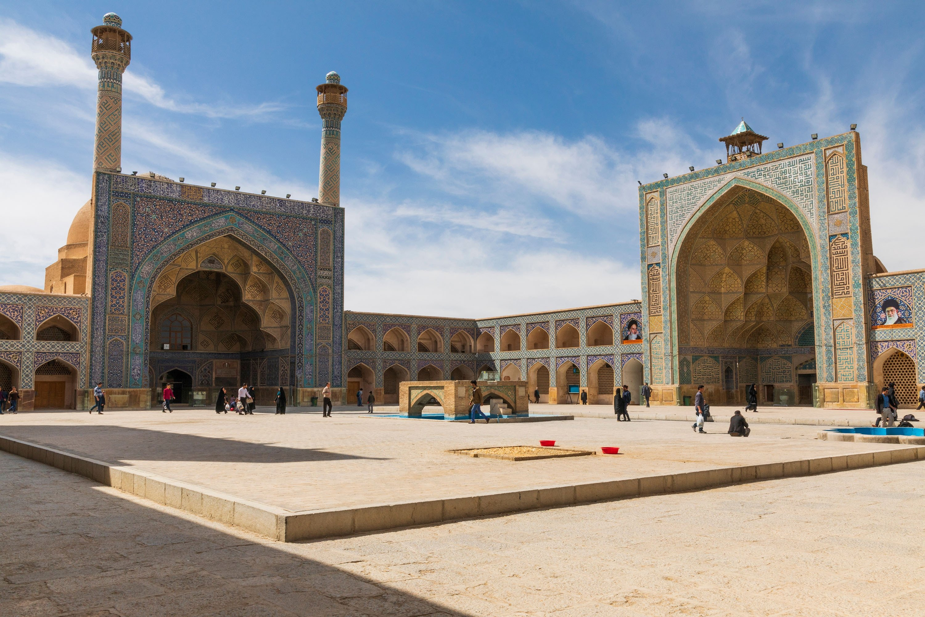 Sun shines upon the courtyard of the Jameh Mosque, a grand, congregational mosque whose south dome was built by Nizam al-Mulk, in Isfahan, Iran. (Shutterstock Photo)