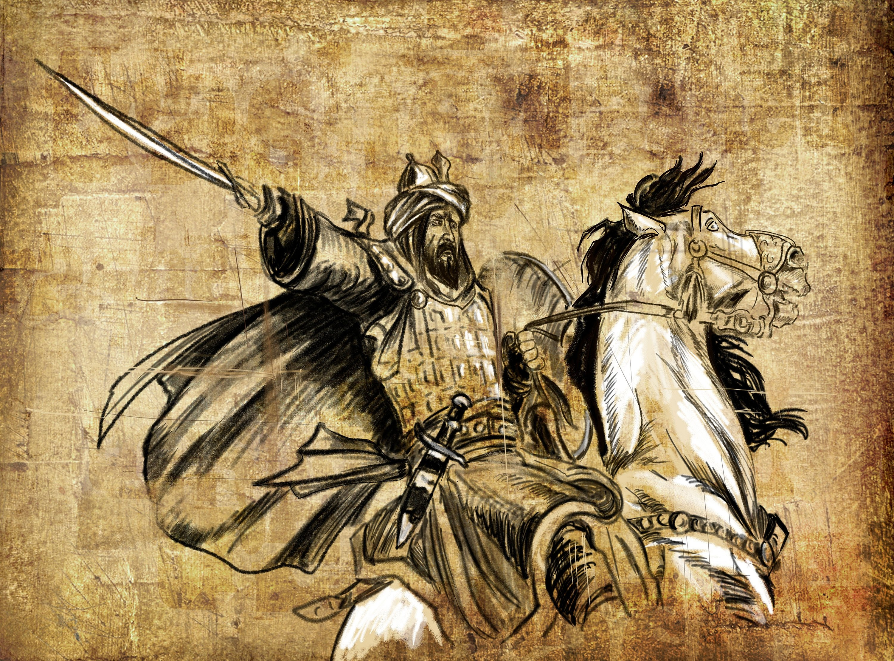 A painting depicts the likeness of Hasan-i Sabbah yielding a sword on horseback. (Shutterstock Photo)