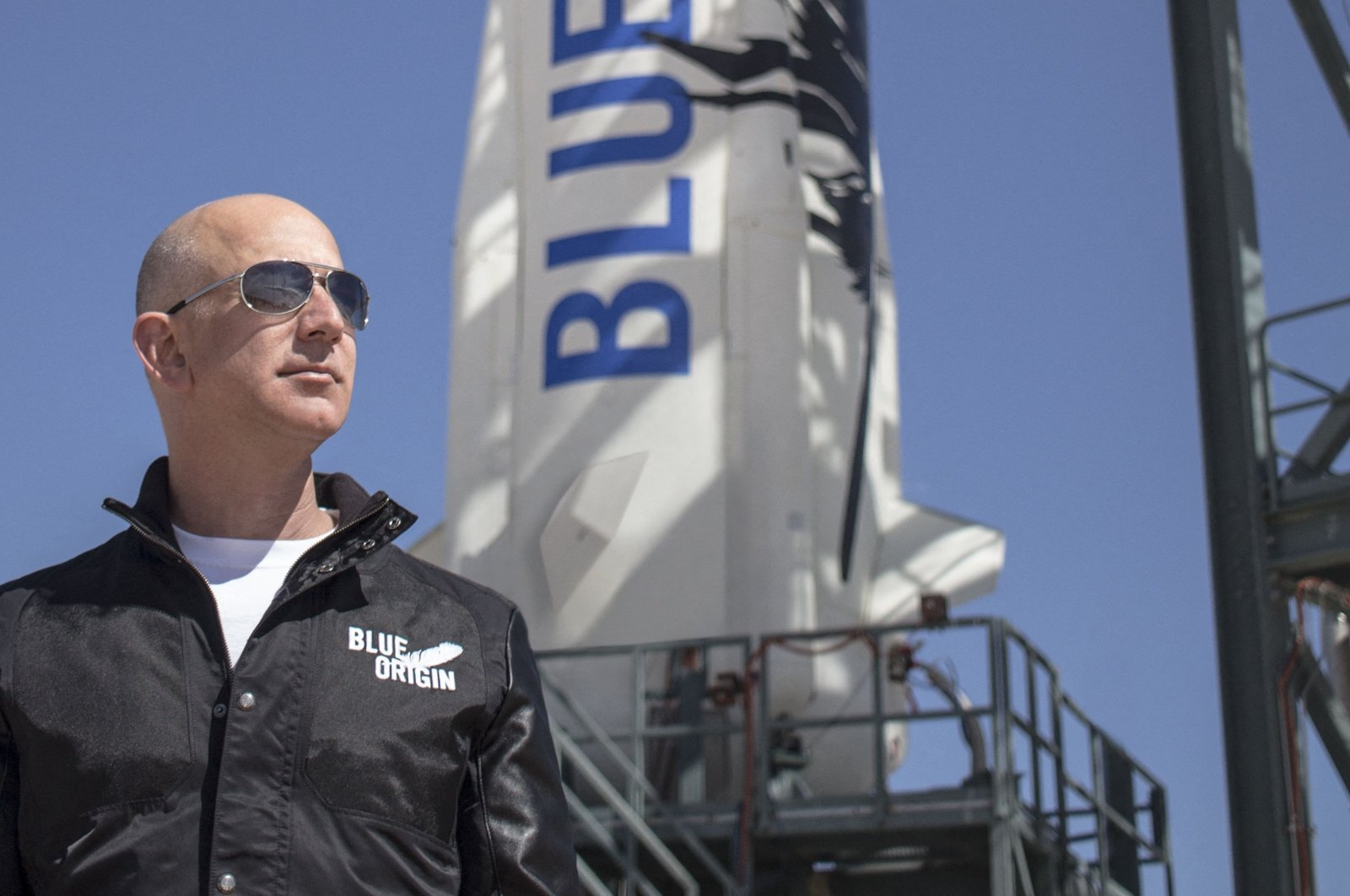 Jeff Bezos, founder of Blue Origin, at New Shepard's West Texas launch facility before the rocket's maiden voyage, U.S., April 24, 2015. (AFP Photo)