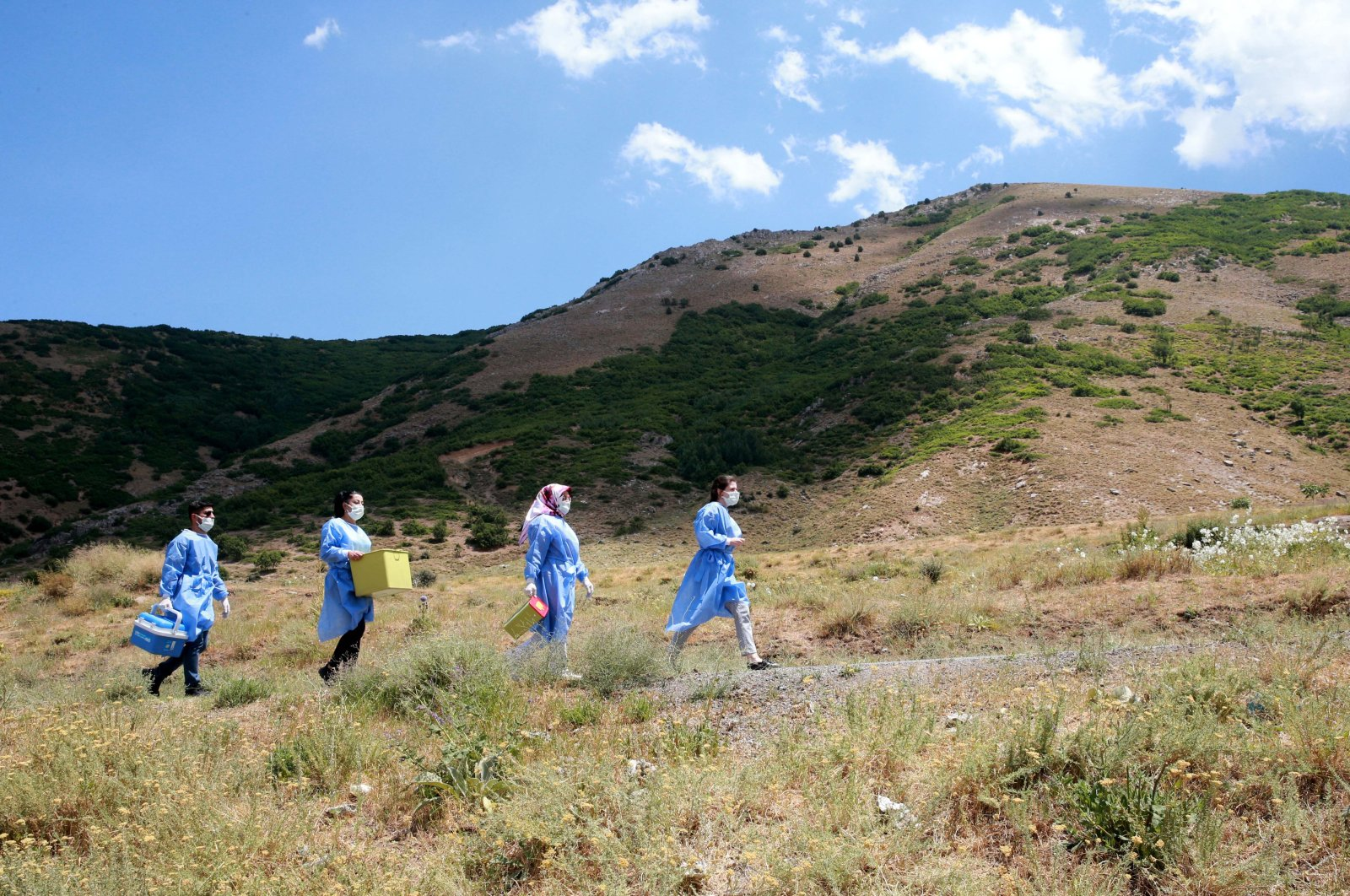 Health care workers walk to a remote village for vaccination in Bitlis, eastern Turkey, July 17, 2021. (AA PHOTO)