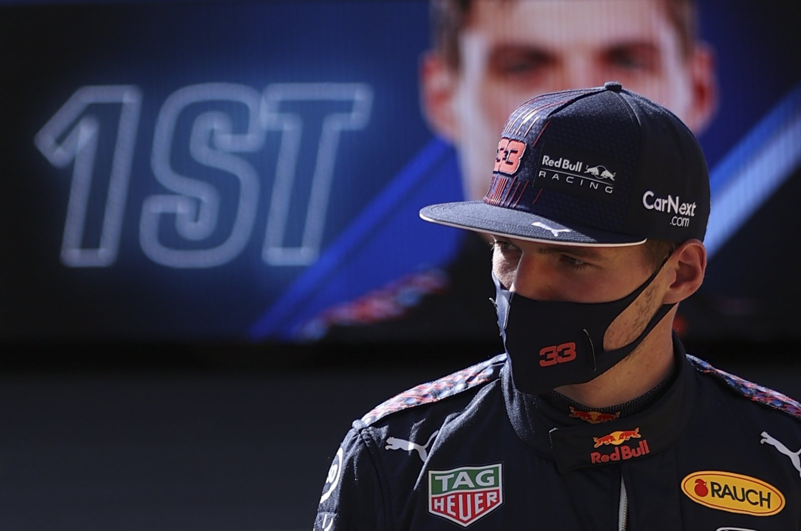 Red Bull's Dutch driver Max Verstappen reacts after taking the first position during the sprint qualifying session of the Formula One British Grand Prix at the Silverstone Circuit, Silverstone, central England, July 17, 2021. (EPA Photo)