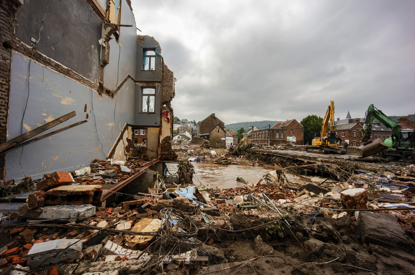 A general view of the destruction following severe flooding after heavy rainfall on July 17, 2021 in Pepinster, Belgium. (Getty Images)