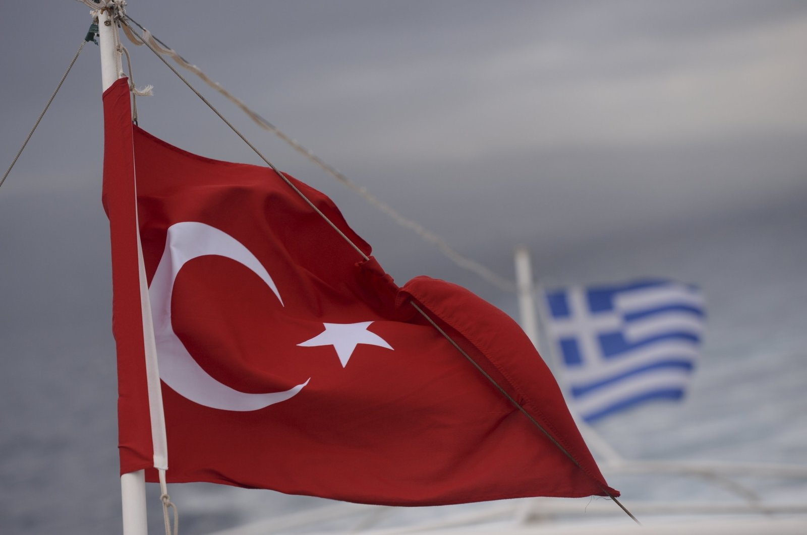 Turkish and Greek flags seen on a ferry from the Greek island of Kos to the Turkish coastal town of Bodrum, on Oct. 21, 2015. (Getty Images)