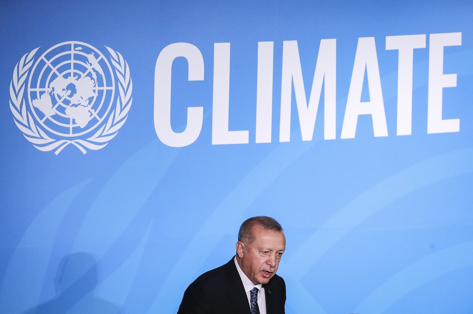 Turkish President Recep Tayyip Erdoğan speaks at the United Nations summit on climate change, New York City, Sept. 23, 2019. (Getty Images)