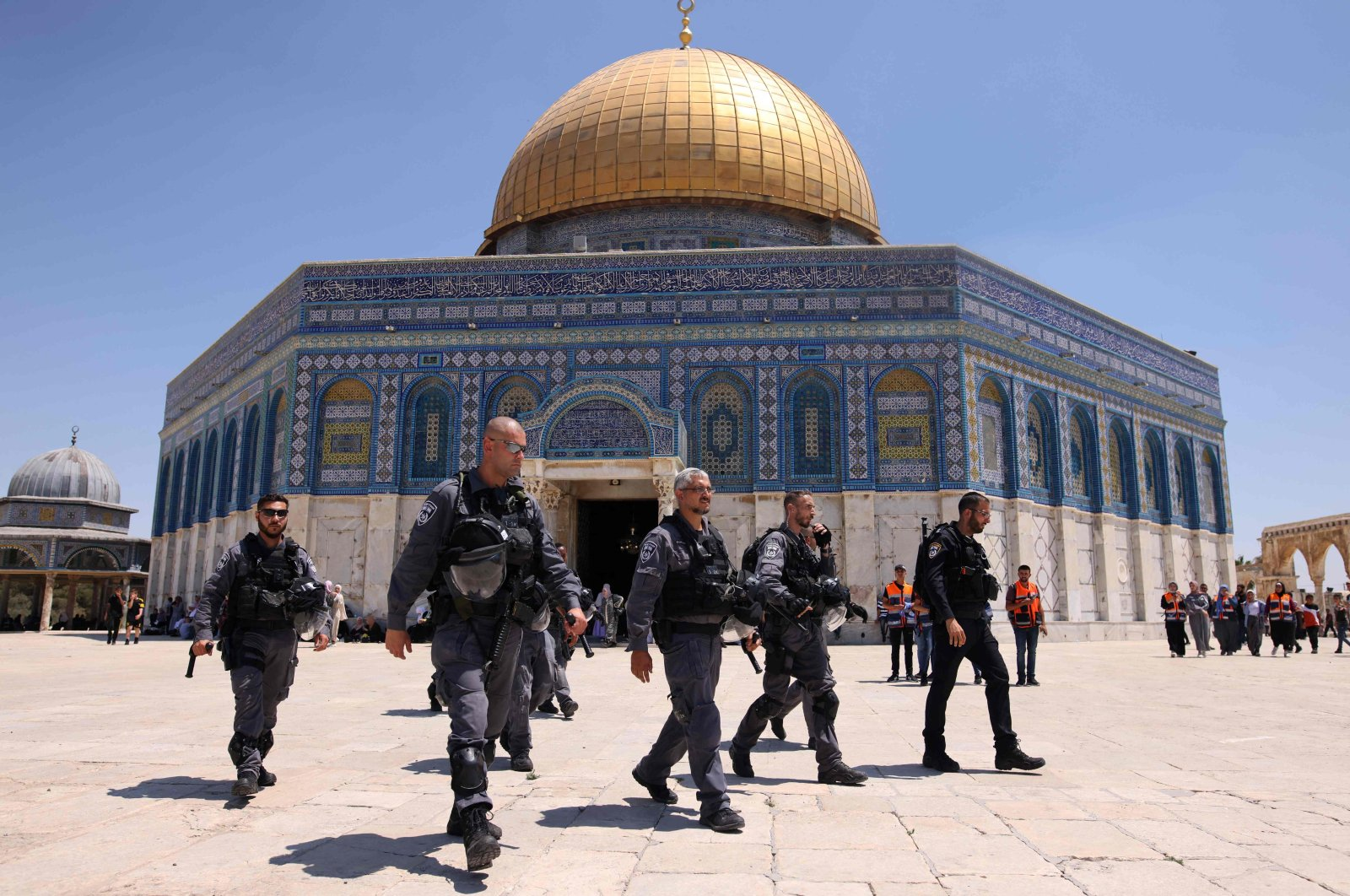 Israeli security forces patrol the Al Aqsa mosque compound in Jerusalem, occupied Palestine, June 25, 2021. (AFP Photo)