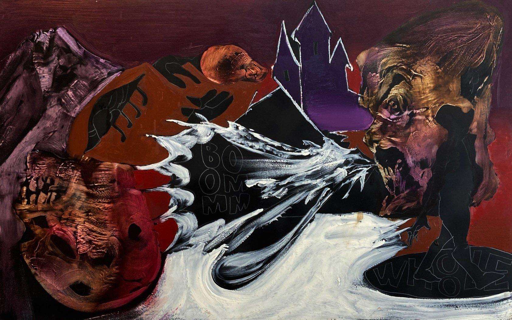 Mustafa Horosan, untitled, 2020, oil on board, 59 by 98.5 centimeters. (Courtesy of Daniel Raphael Gallery)