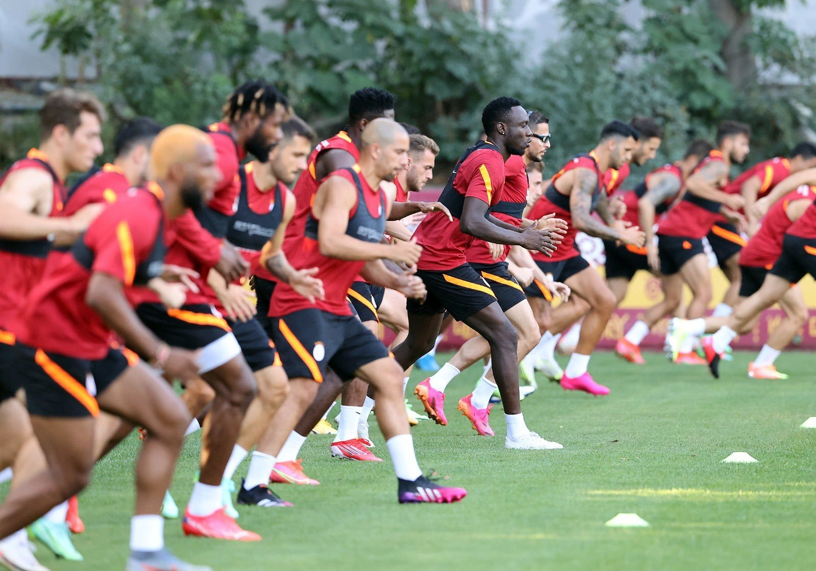 Galatasaray players take part in a training session ahead of their UEFA Champions League second qualifying round match against PSV Eindhoven, Istanbul, Turkey, July 19, 2021. (DHA Photo)