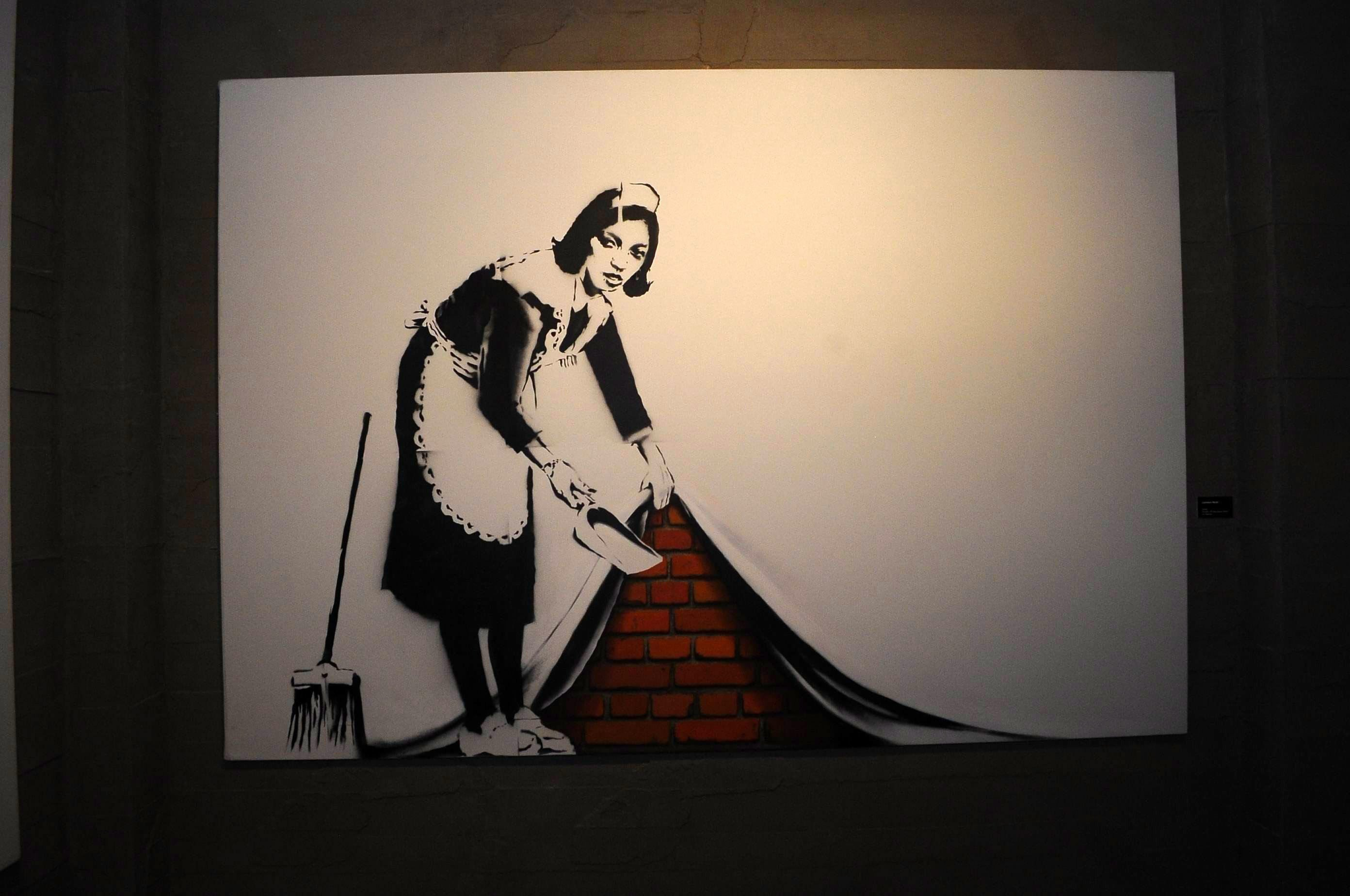 """A work by Banksy from the """"The Art of Banksy' in Istanbul. (İHA Photo)"""