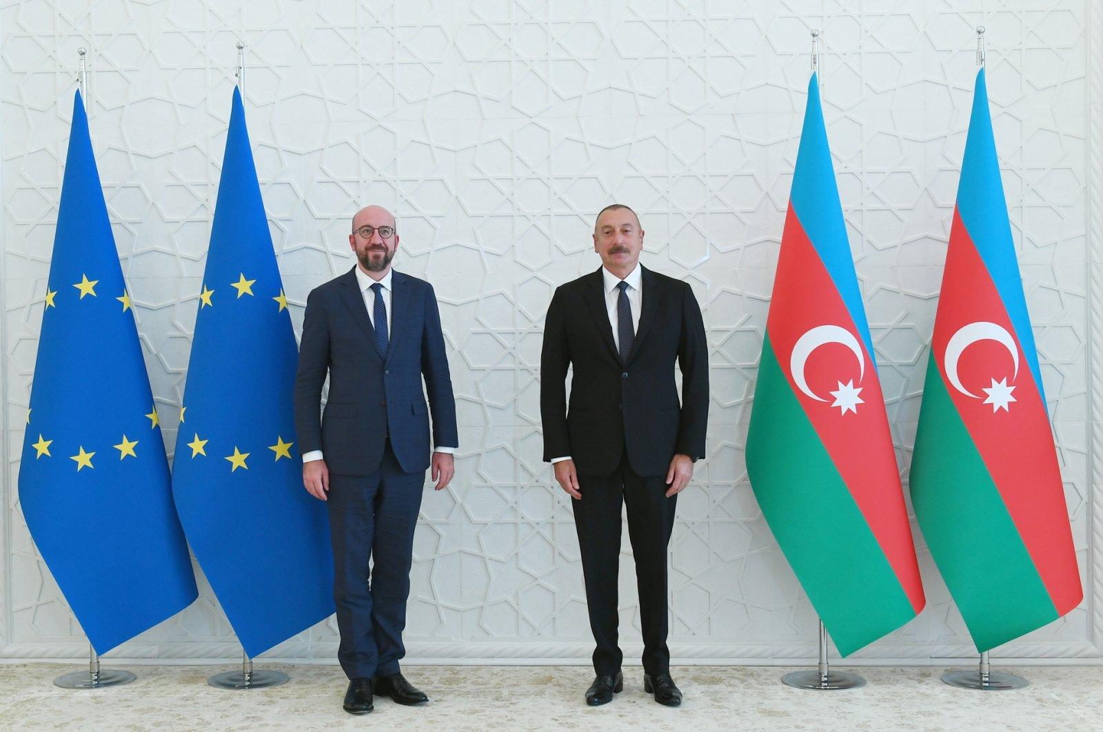 Azerbaijan's Ilham Aliyev (R) is seen together with EU Council head Charles Michel in the capital Baku, July 18, 2021 (AA Photo)