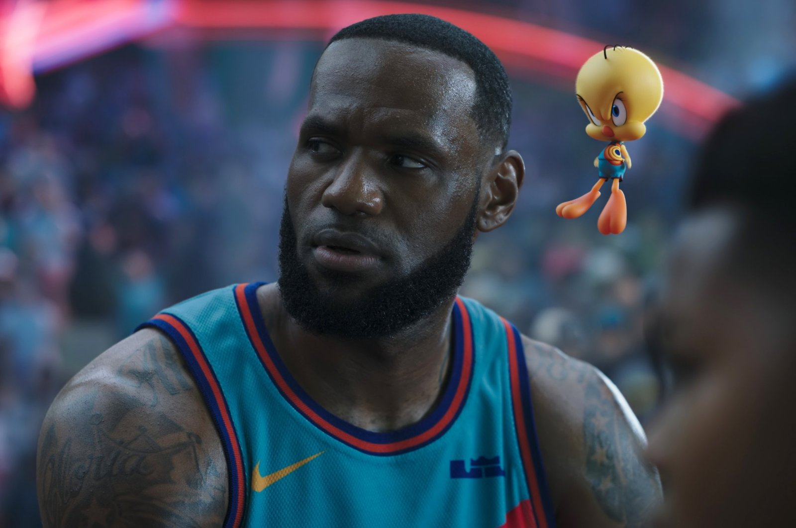"""This image released by Warner Bros. Entertainment shows Lebron James in a scene from """"Space Jam: A New Legacy."""" (AP Photo)"""