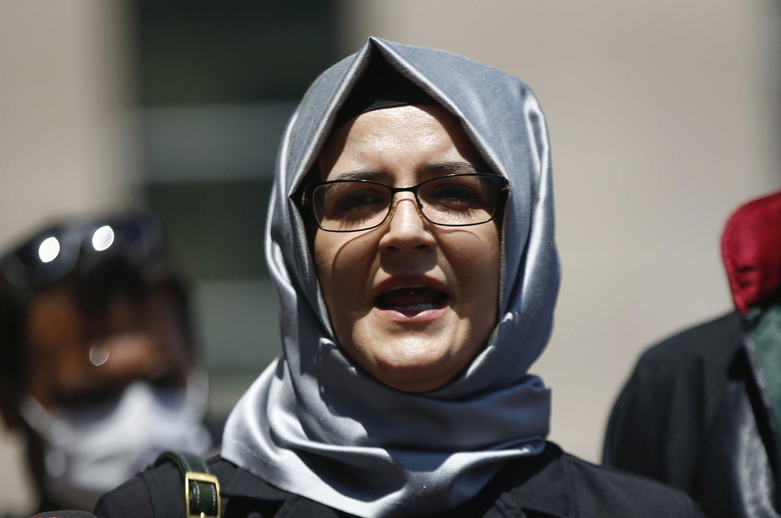 Hatice Cengiz, the fiancee of slain Saudi journalist Jamal Khashoggi, talks to members of the media in Istanbul, Turkey, July 3, 2020. (AP Photo)