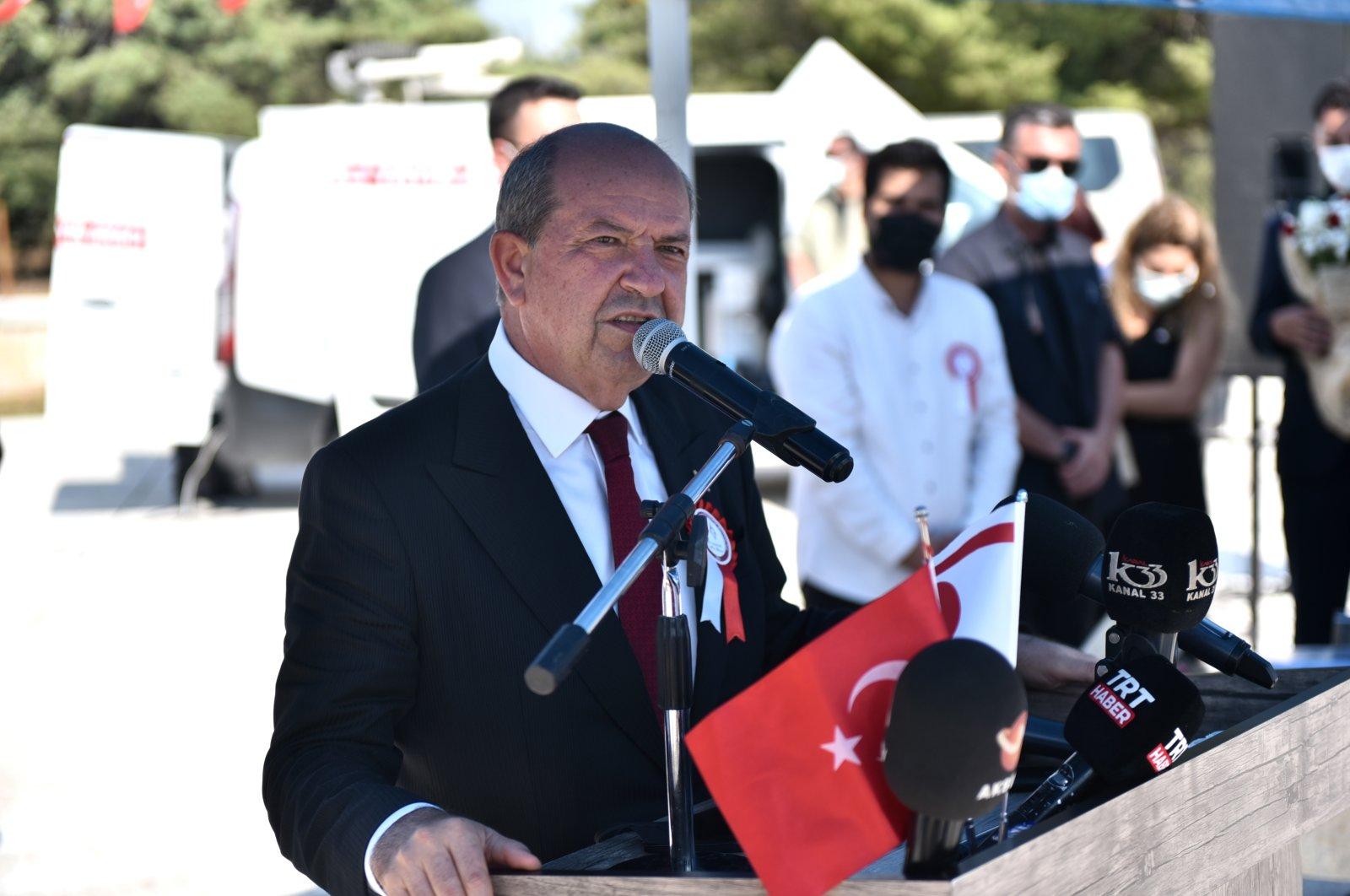 Turkish Republic of Northern Cyprus President Ersin Tatar speaks at a commemoration ceremony in Turkey's Mersin, July 14, 2021. (AA Photo)