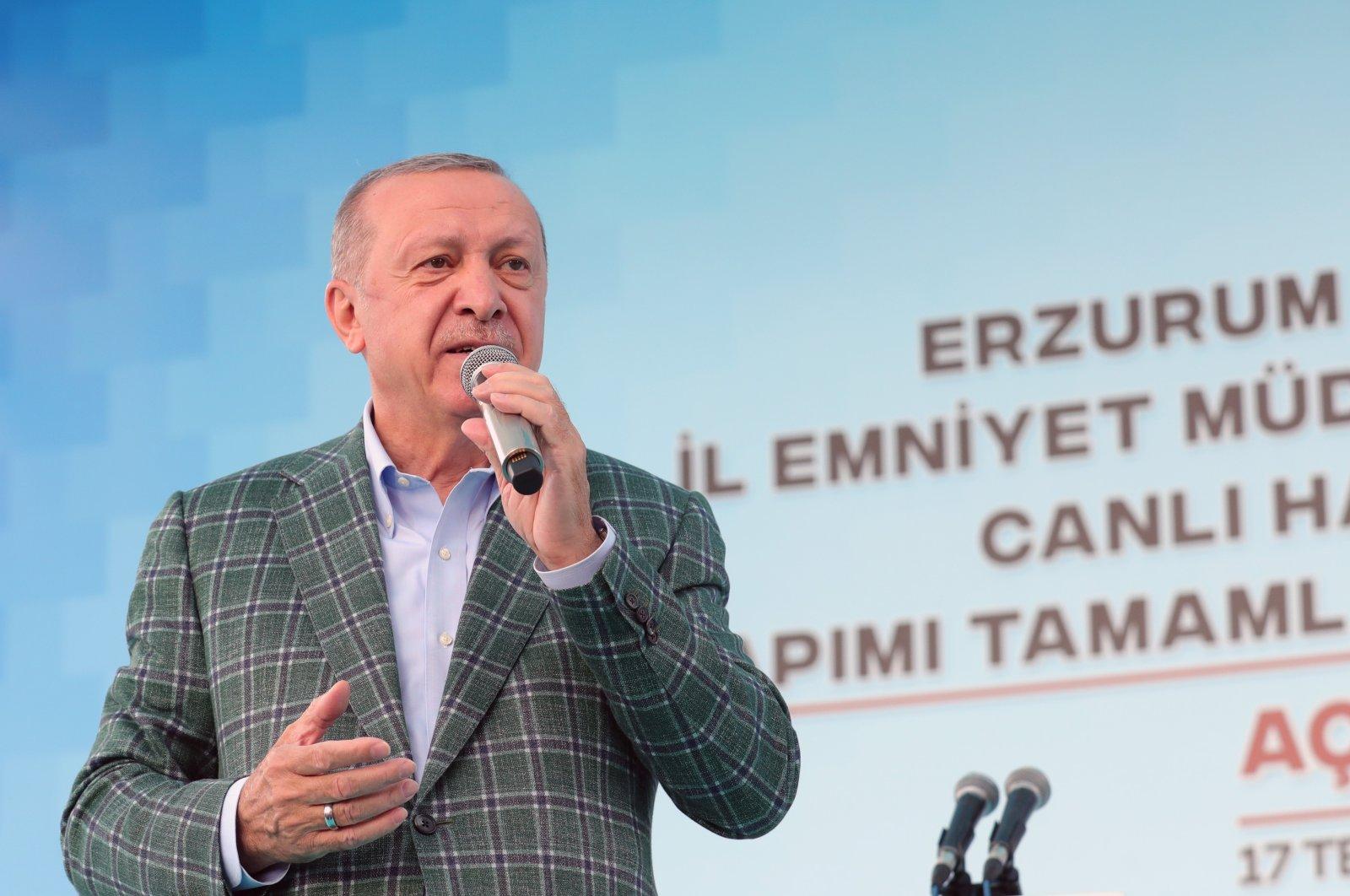 President Recep Tayyip Erdoğan speaks during a ceremony in Erzurum, eastern Turkey, July 17, 2021. (AA Photo)