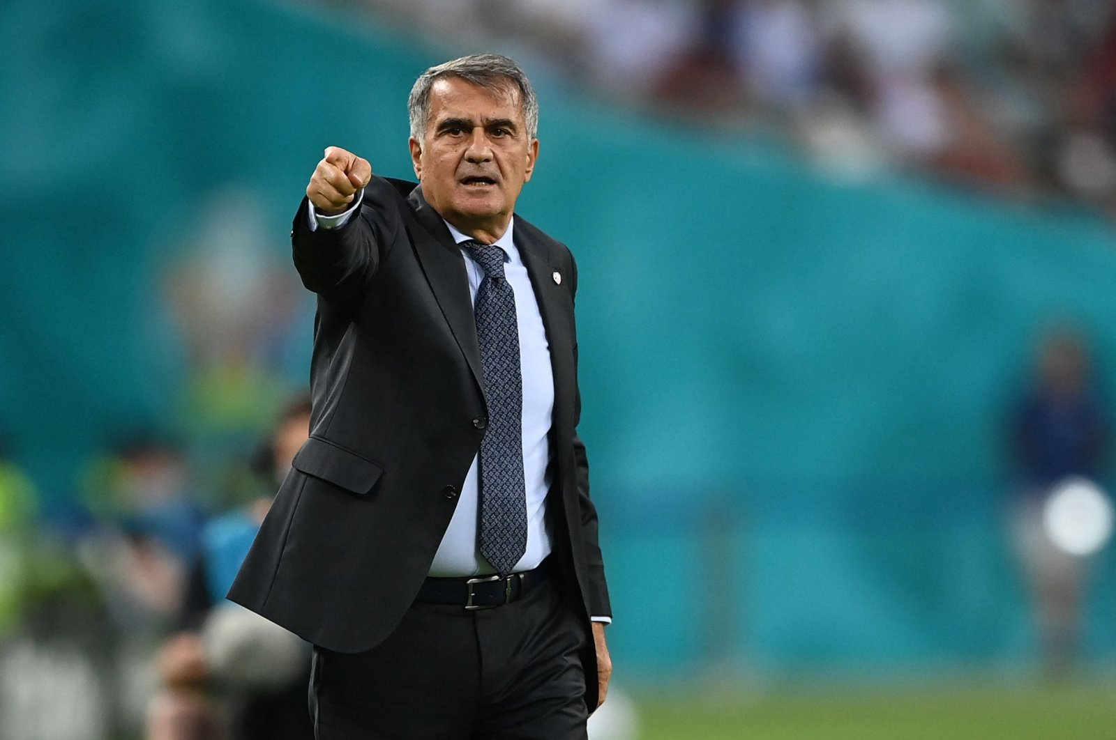 Turkey's coach Şenol Güneş reacts from the sidelines during the UEFA Euro 2020 Group A match against Switzerland at the Olympic Stadium, Baku, Azerbaijan, June 20, 2021. (AFP Photo)