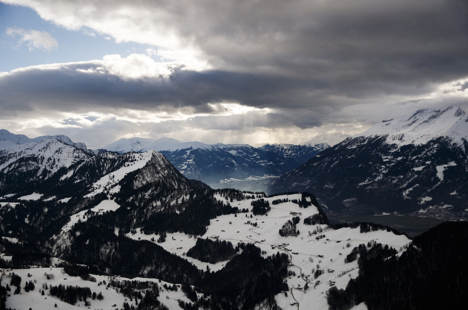 A view of the Swiss Alps in Davos, Switzerland, Jan. 26, 2018. (AP Photo)