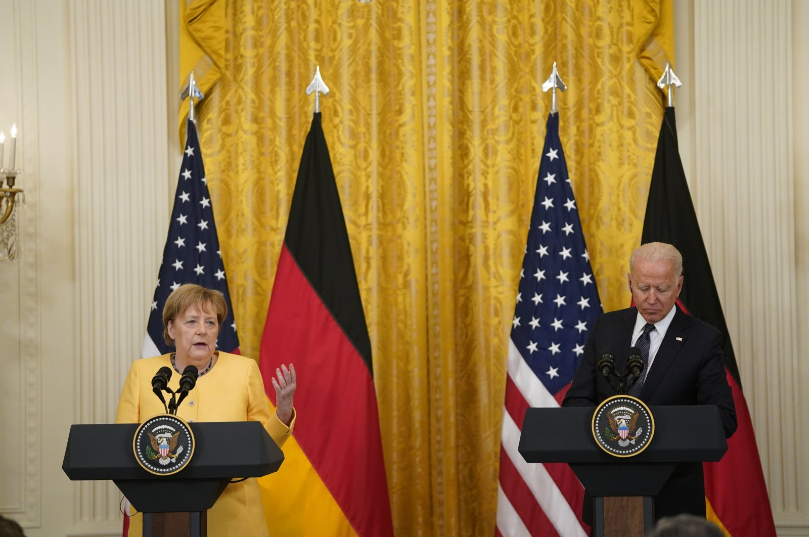 U.S. President Joe Biden (R) and German Chancellor Angela Merkel participate in a joint press conference in the East Room of the White House in Washington, D.C., U.S., July 15, 2021. (EPA Photo)