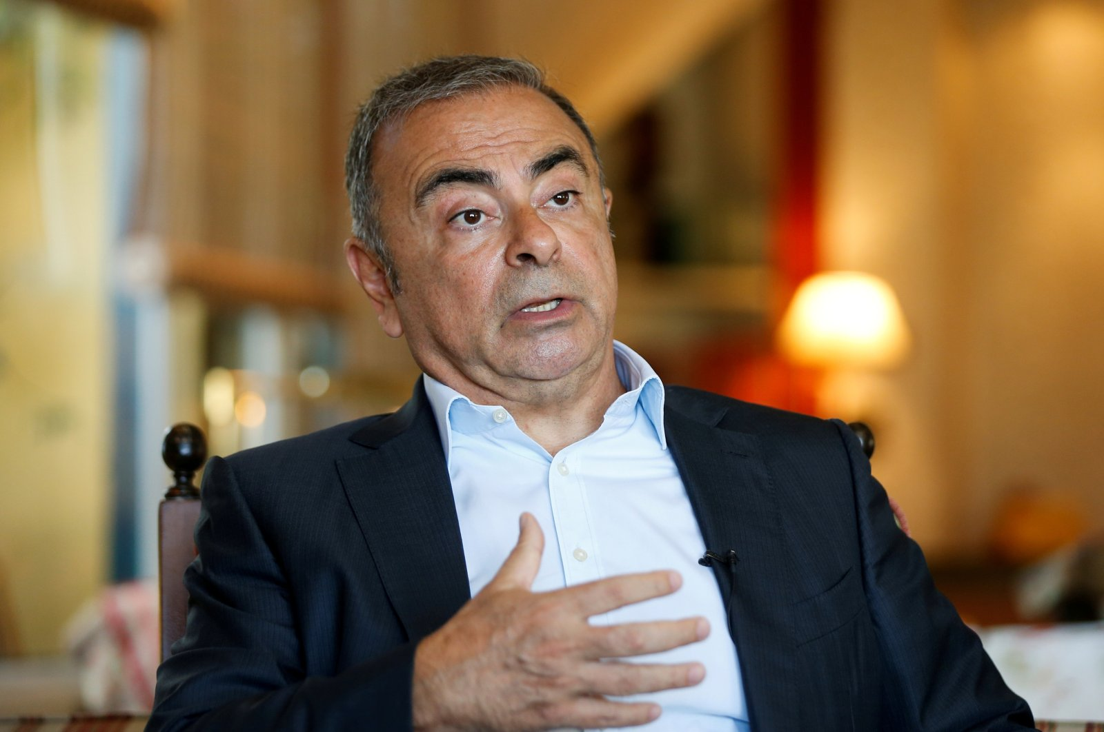 Former Nissan Chairperson Carlos Ghosn talks during an interview in Beirut, Lebanon, June 14, 2021. (Reuters Photo)