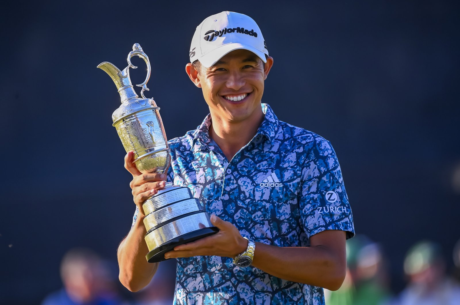 Collin Morikawa of the U.S. holds the Claret Jug after winning The Open 2021 golf championship at Royal St. George's golf course in Sandwich, Kent, Britain, July 18, 2021. (EPA Photo)