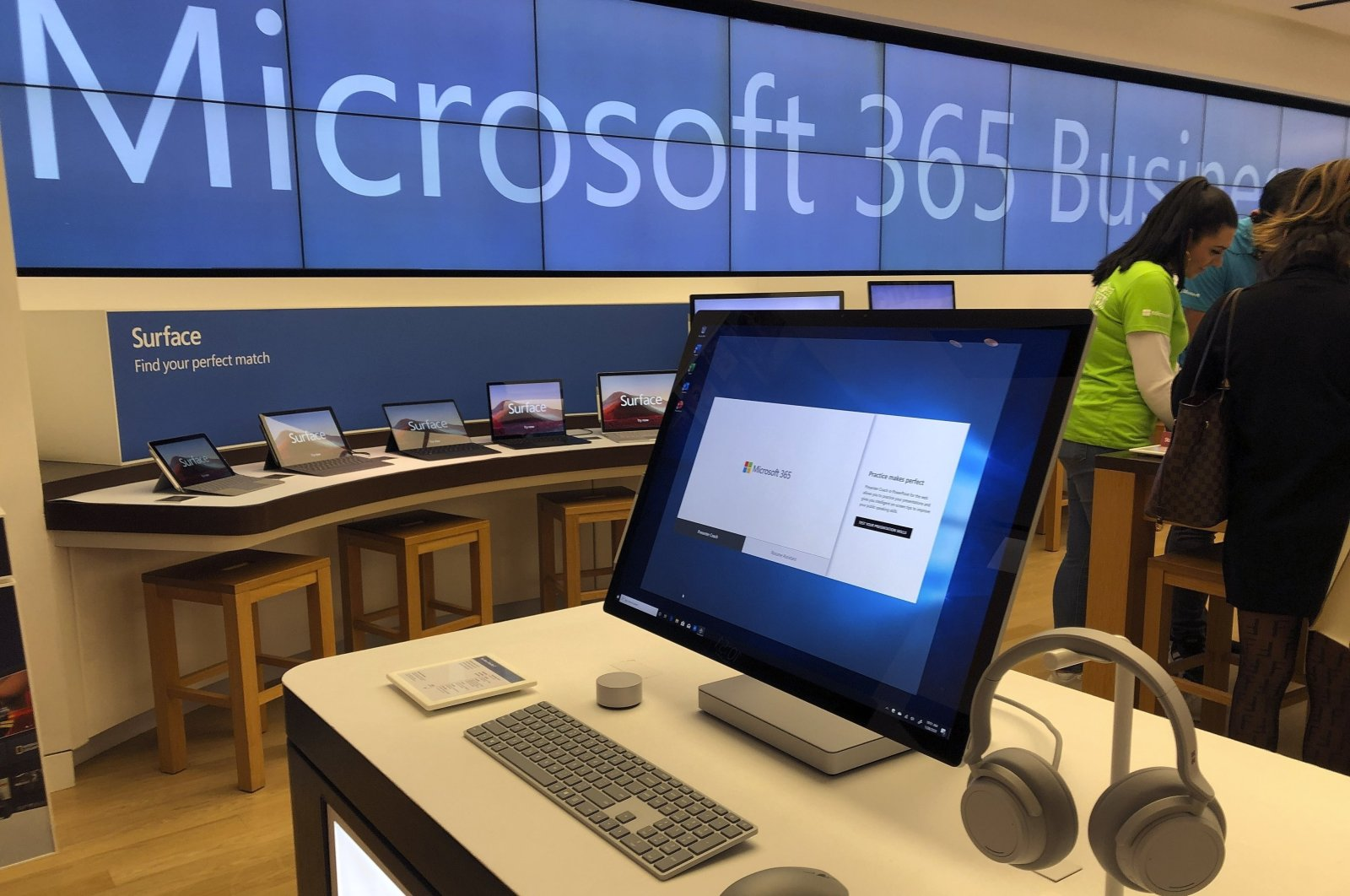 A Microsoft computer is among items displayed at a Microsoft store in suburban Boston, U.S.,Jan. 28, 2020. (AP Photo)
