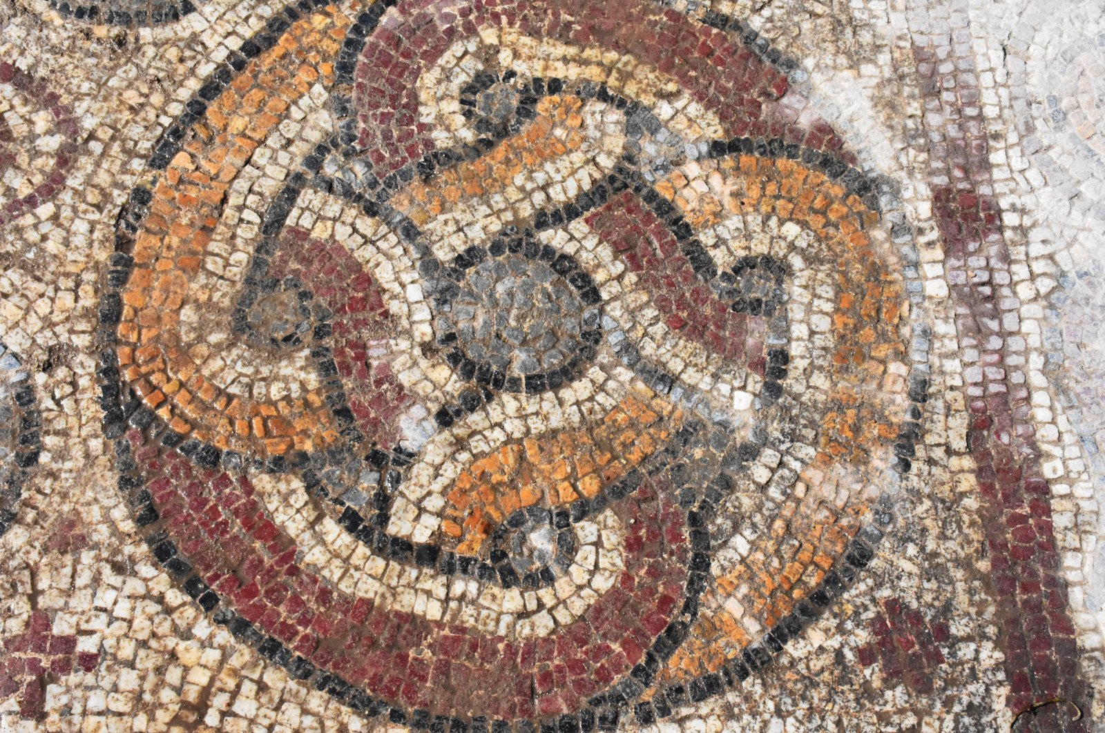 A view from a mosaic found in the ancient city of Stratonikeia, Muğla, southwestern Turkey, July 18, 2021. (AA Photo)