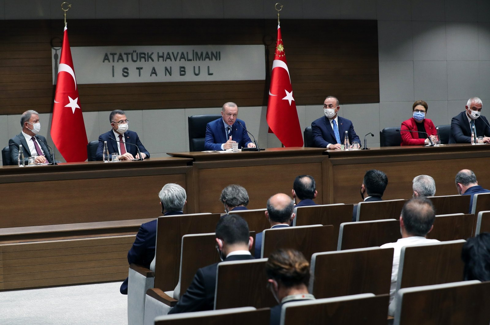 Turkish President Recep Tayyip Erdoğan speaking at a news conference before departing to the Turkish Republic of Northern Cyprus in Istanbul, Turkey, July 19, 2021. (DHA Photo)