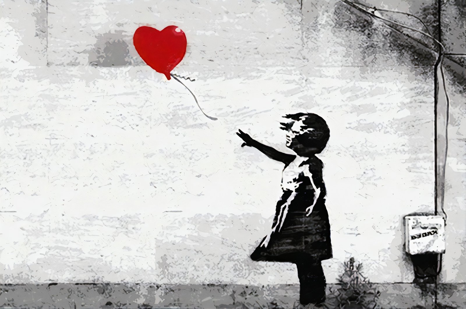 """""""Girl with Balloon"""" by Banksy from the """"The Art of Banksy"""" in Istanbul. (Archive Photo)"""
