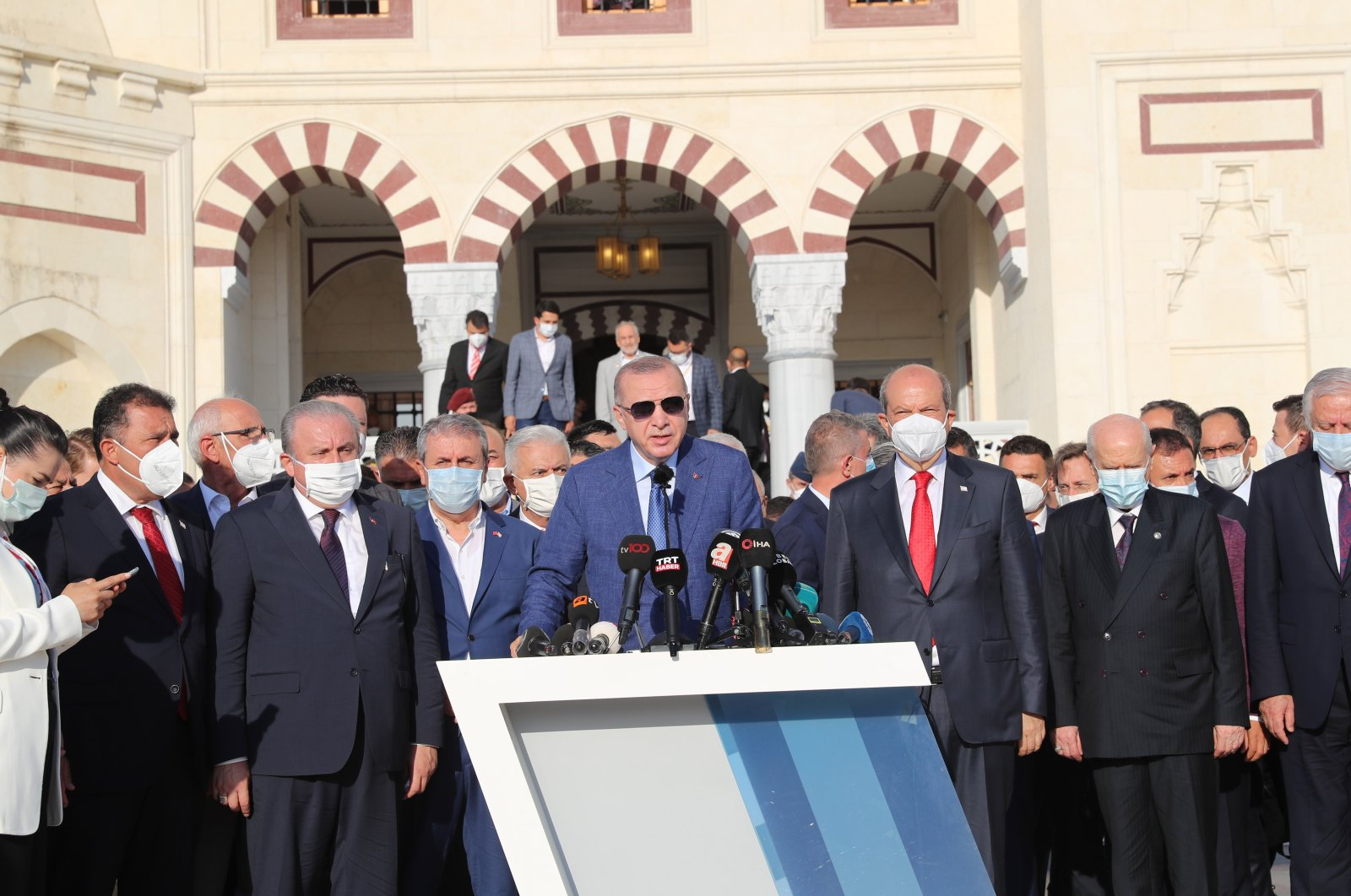 President Recep Tayyip Erdoğan speaks at a press conference after performing bayram prayers at the Hala Sultan Mosque on the first day Eid al-Adha, in Nicosia, Turkish Republic of Northern Cyprus, July 20, 2021. (DHA Photo)