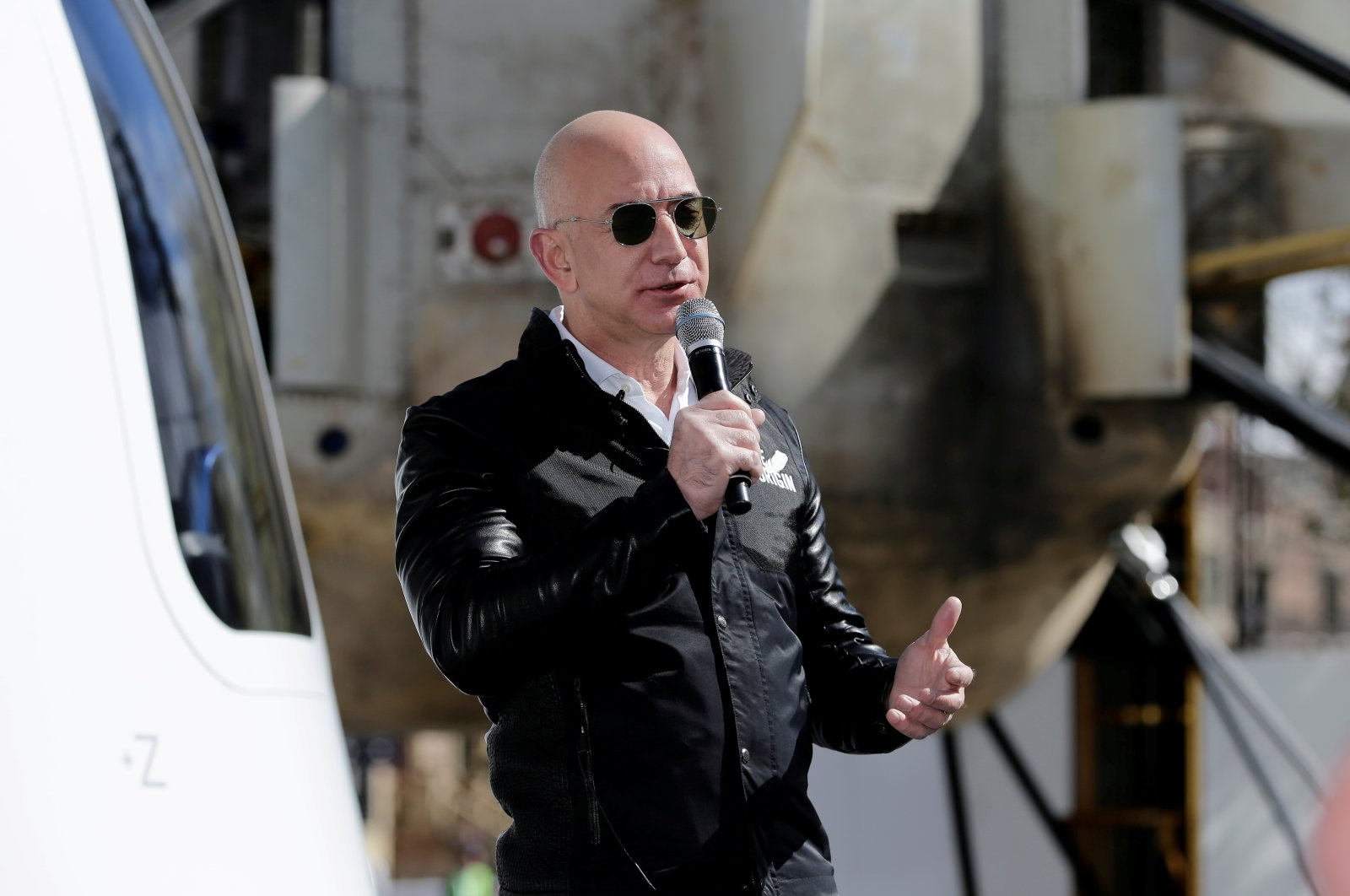 Amazon and Blue Origin founder Jeff Bezos addresses the media about the New Shepard rocket booster and crew capsule mockup at the 33rd Space Symposium in Colorado Springs, U.S., April 5, 2017. (Reuters Photo)