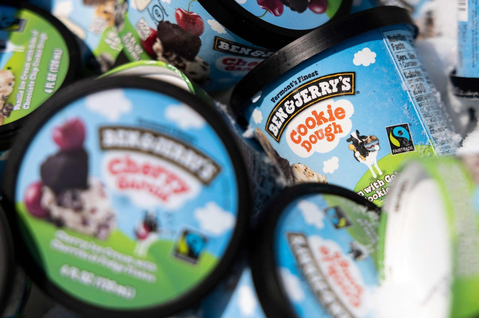 Ben and Jerry's ice cream is stored in a cooler at an event where founders Jerry Greenfield and Ben Cohen gave away ice cream to bring attention to police reform at the U.S. Supreme Court in Washington, D.C., U.S., May 19, 2021. (AFP File Photo)