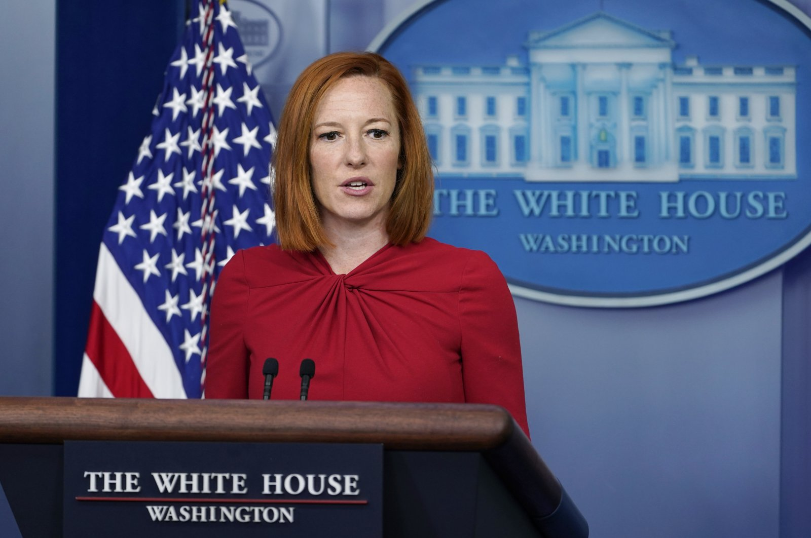 White House press secretary Jen Psaki speaks during the daily briefing at the White House in Washington, U.S. Monday, July 19, 2021. (AP Photo)