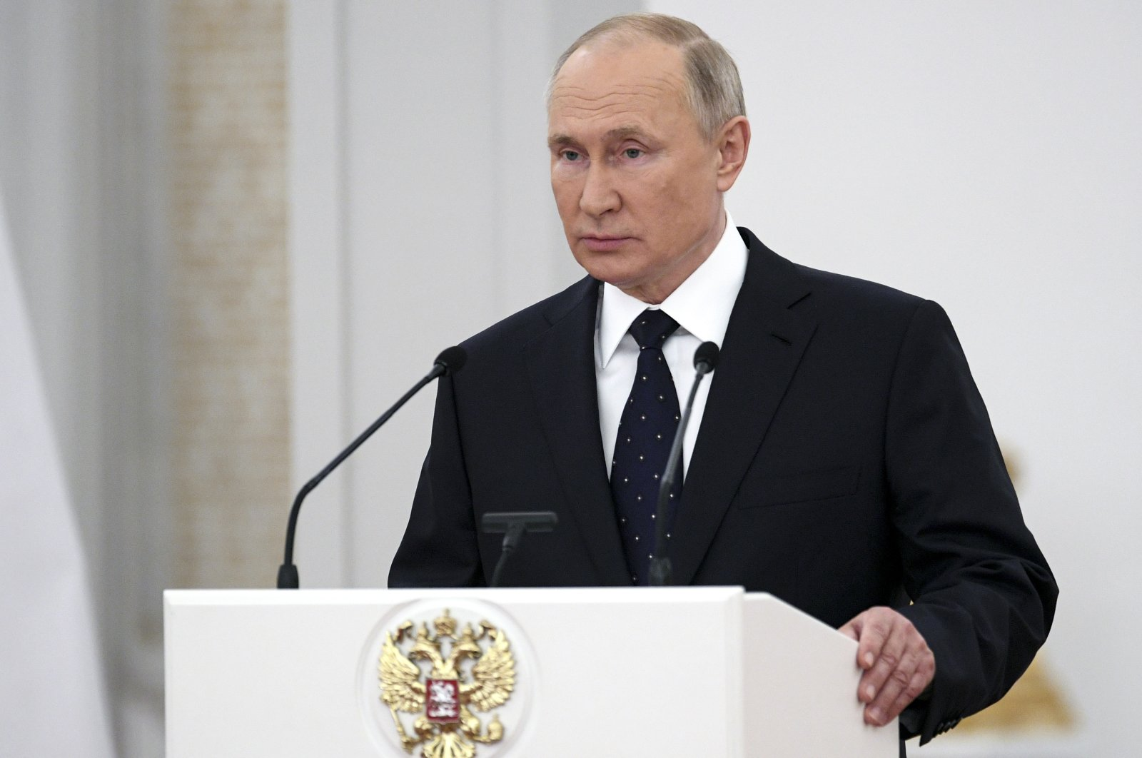 Russian President Vladimir Putin delivers a speech to members of the State Duma, the Lower House of the Russian Parliament at the Great Kremlin Palace, Moscow, Russia, June 21, 2021. (AP Photo)