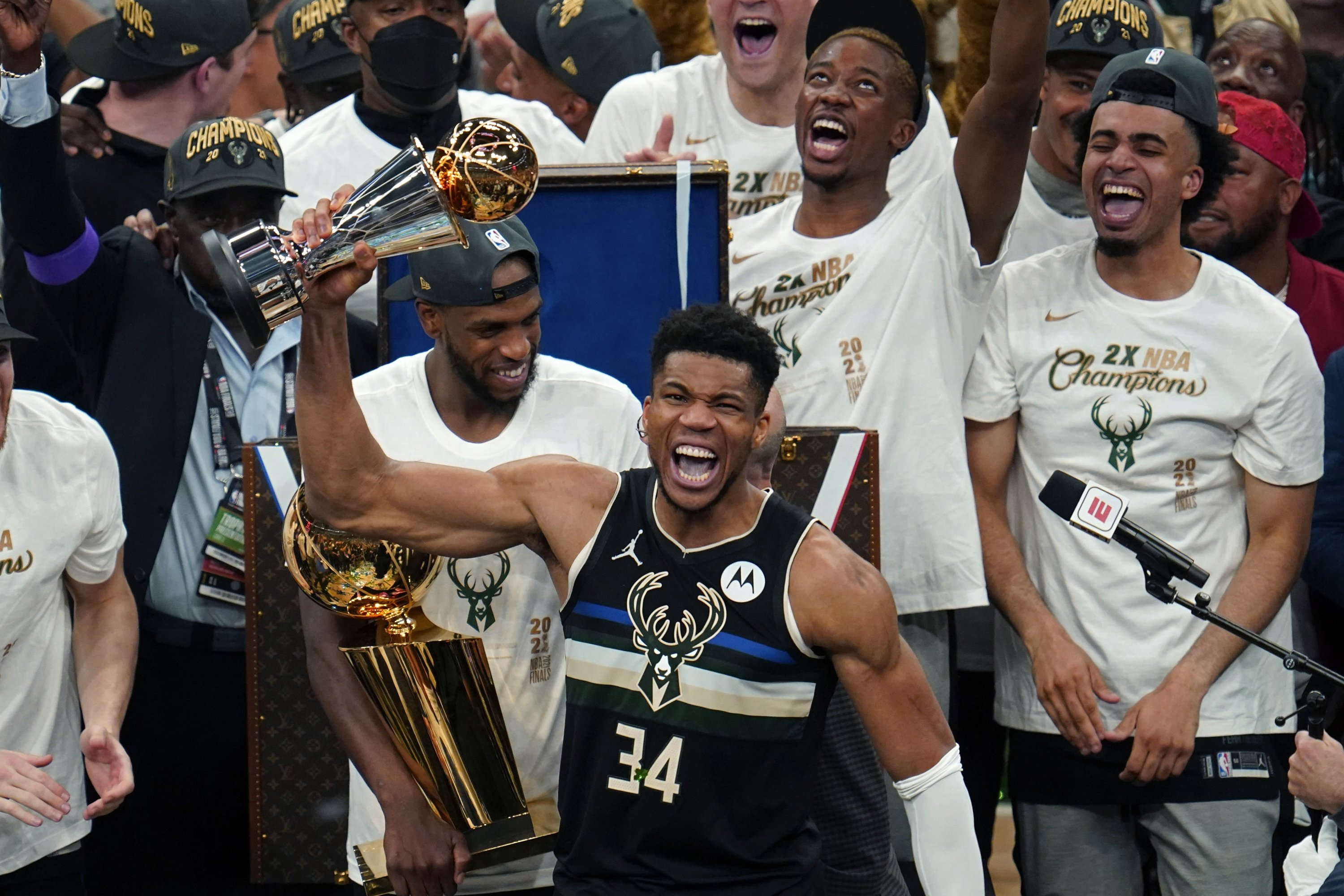 Milwaukee Bucks forward Giannis Antetokounmpo (34) holds the finals MVP trophy after the Bucks defeated the Phoenix Suns in Game 6 of NBA Finals in Milwaukee, U.S., July 20, 2021. (AP Photo)